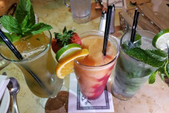 Drinks (L to R): Passion Mint Fizz, Peach Smoothie, Mojito