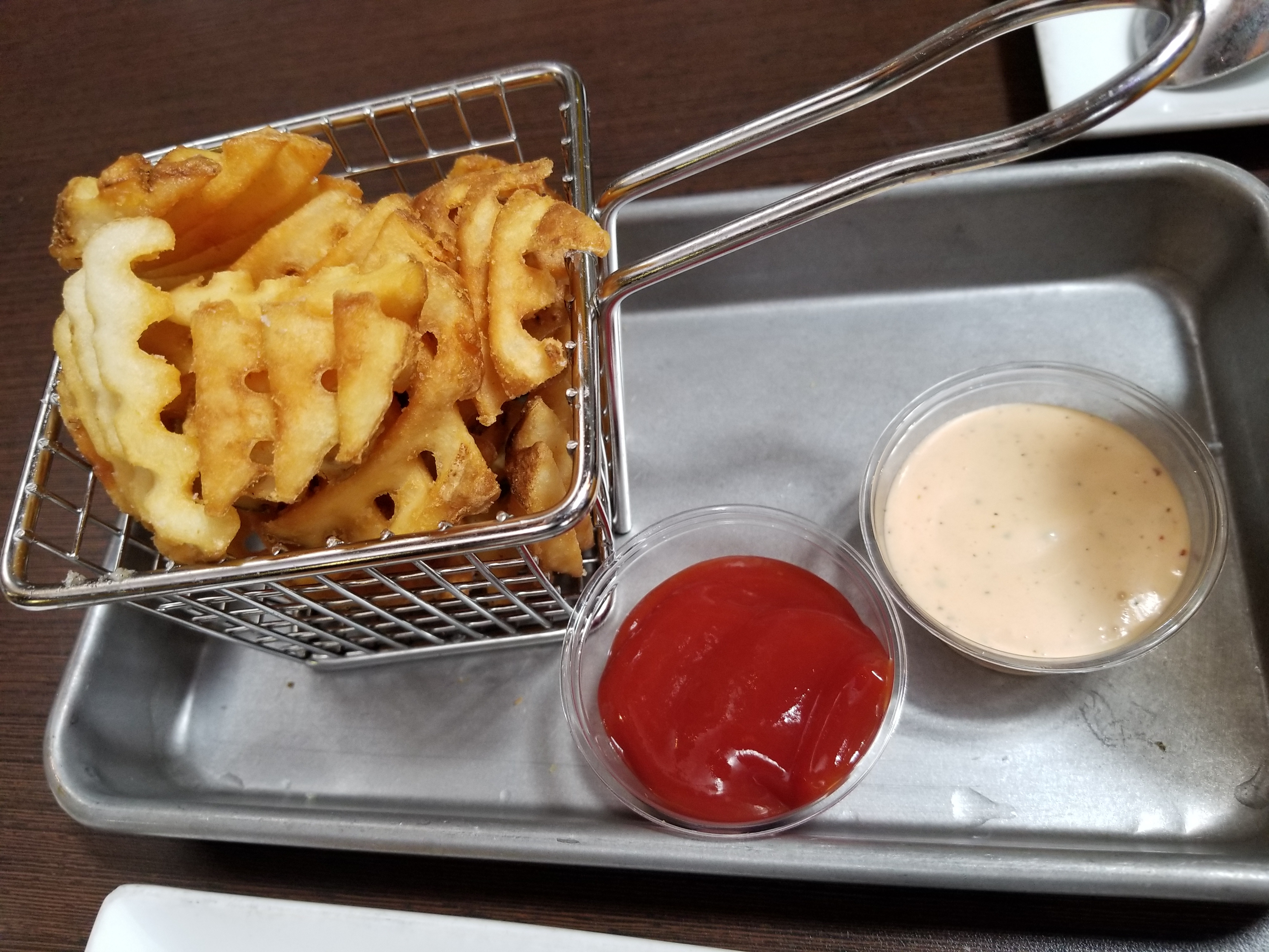 Waffle Fries (the aioli is so good!)