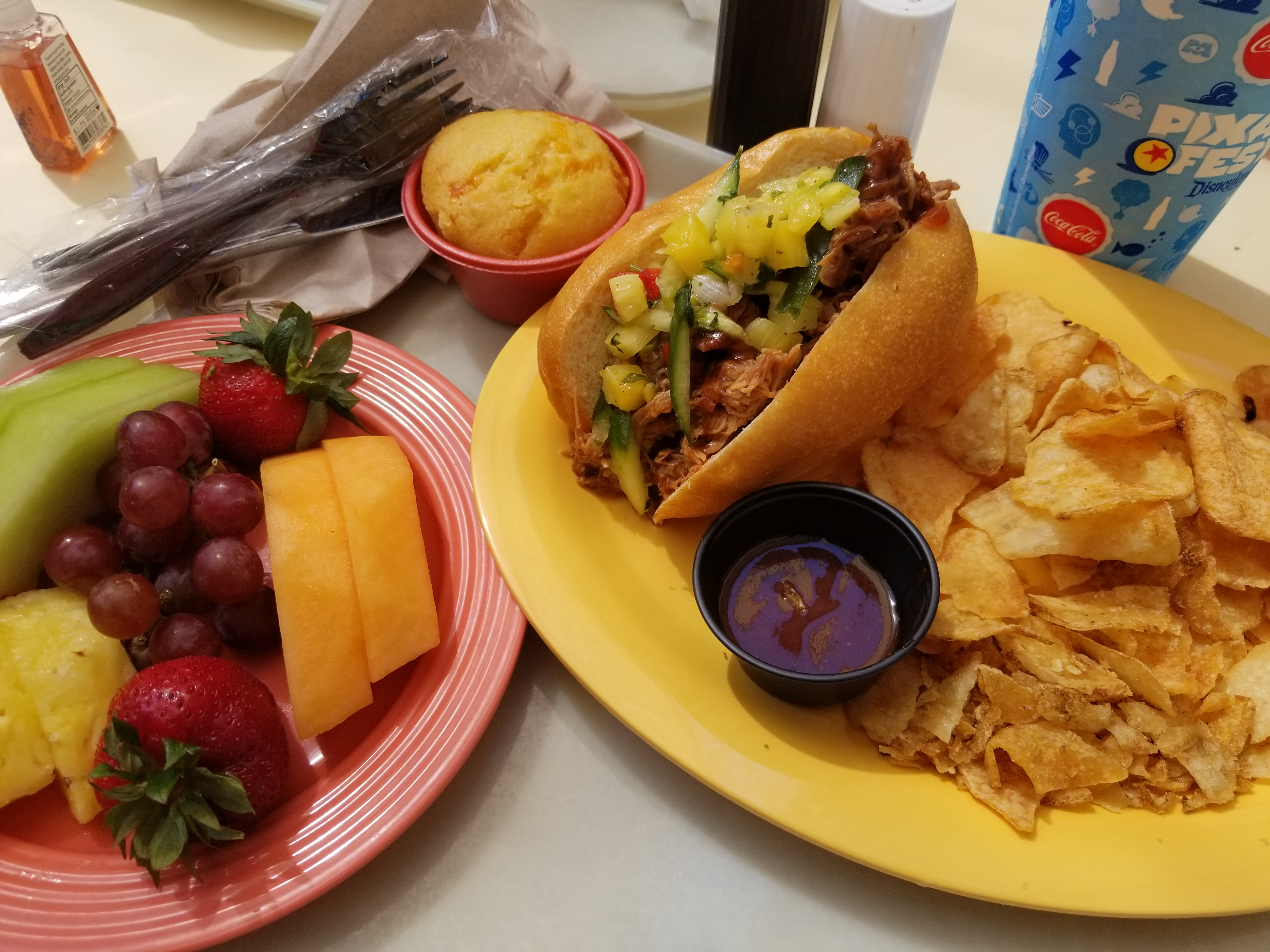 Pulled Pork Sandwich with Fruit Plate