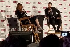 Karen Gillan with Moderator Aaron Sagers