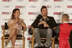 Amy Jo Johnson & Jason David Frank invite the only kid with a question up on stage.