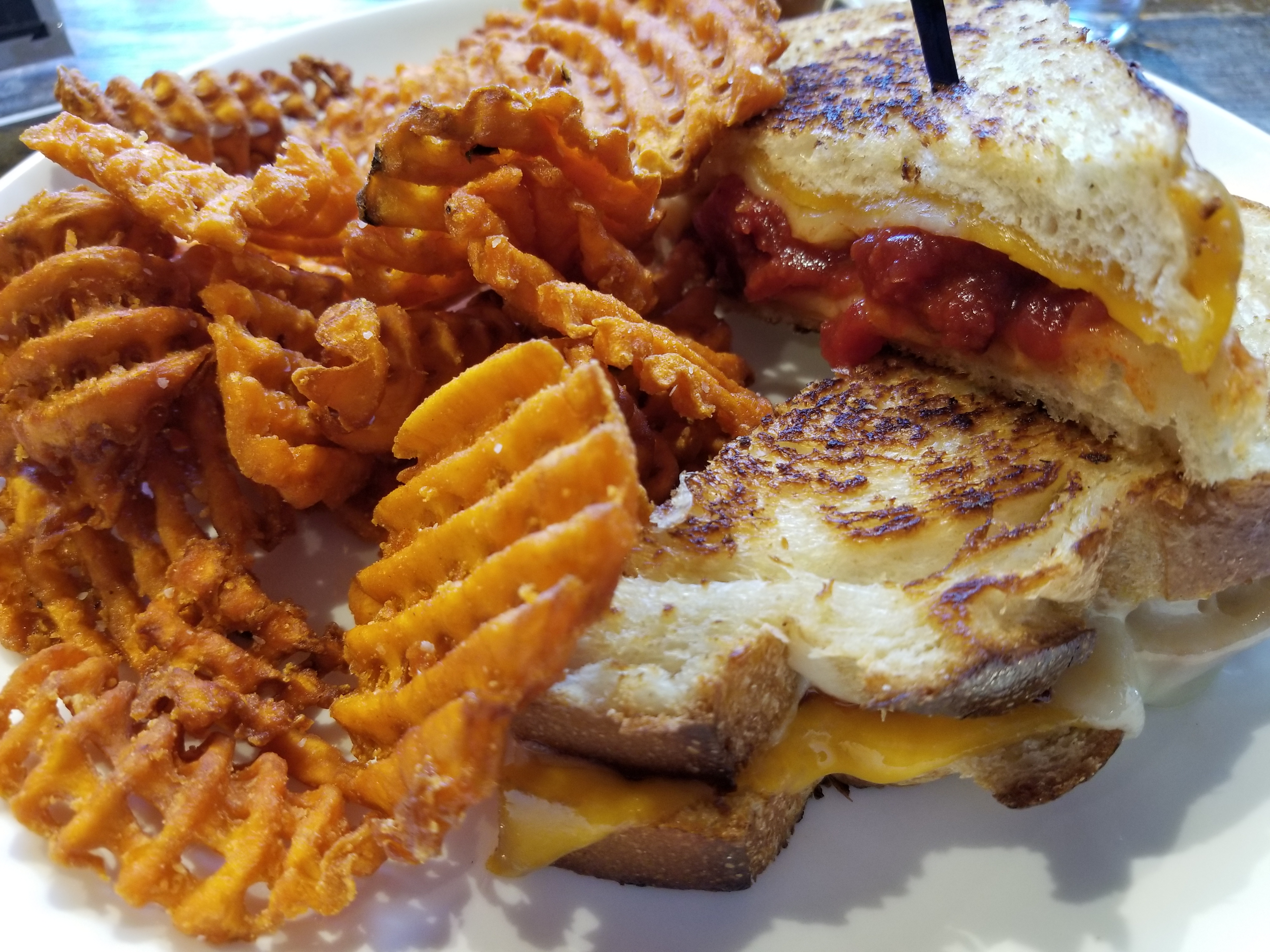 The Adult Grilled Cheese with Tomato Jam and Sweet Potato Waffle Fries