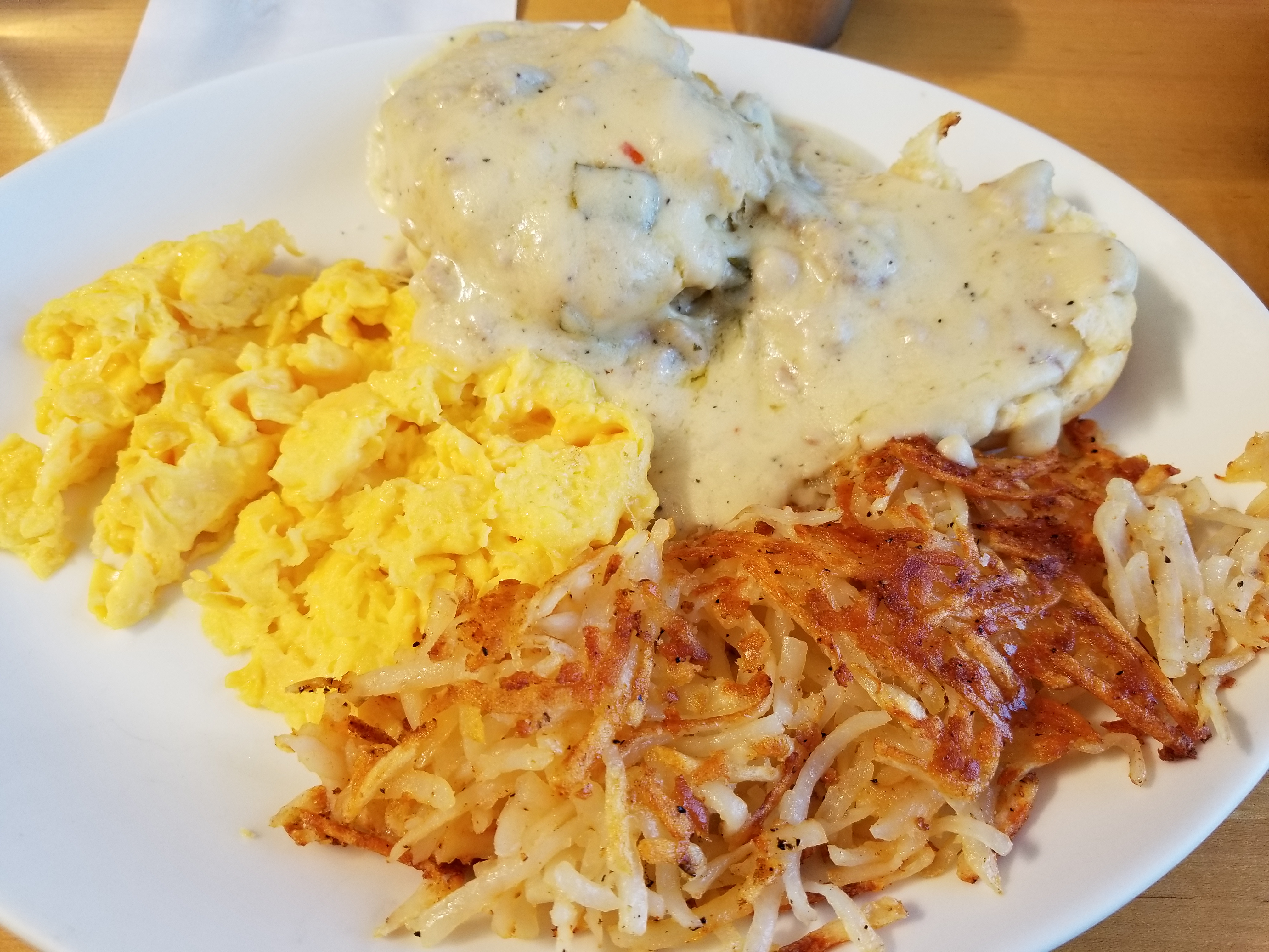 Award-winning Biscuits and Gravy (with a side of hashbrowns)