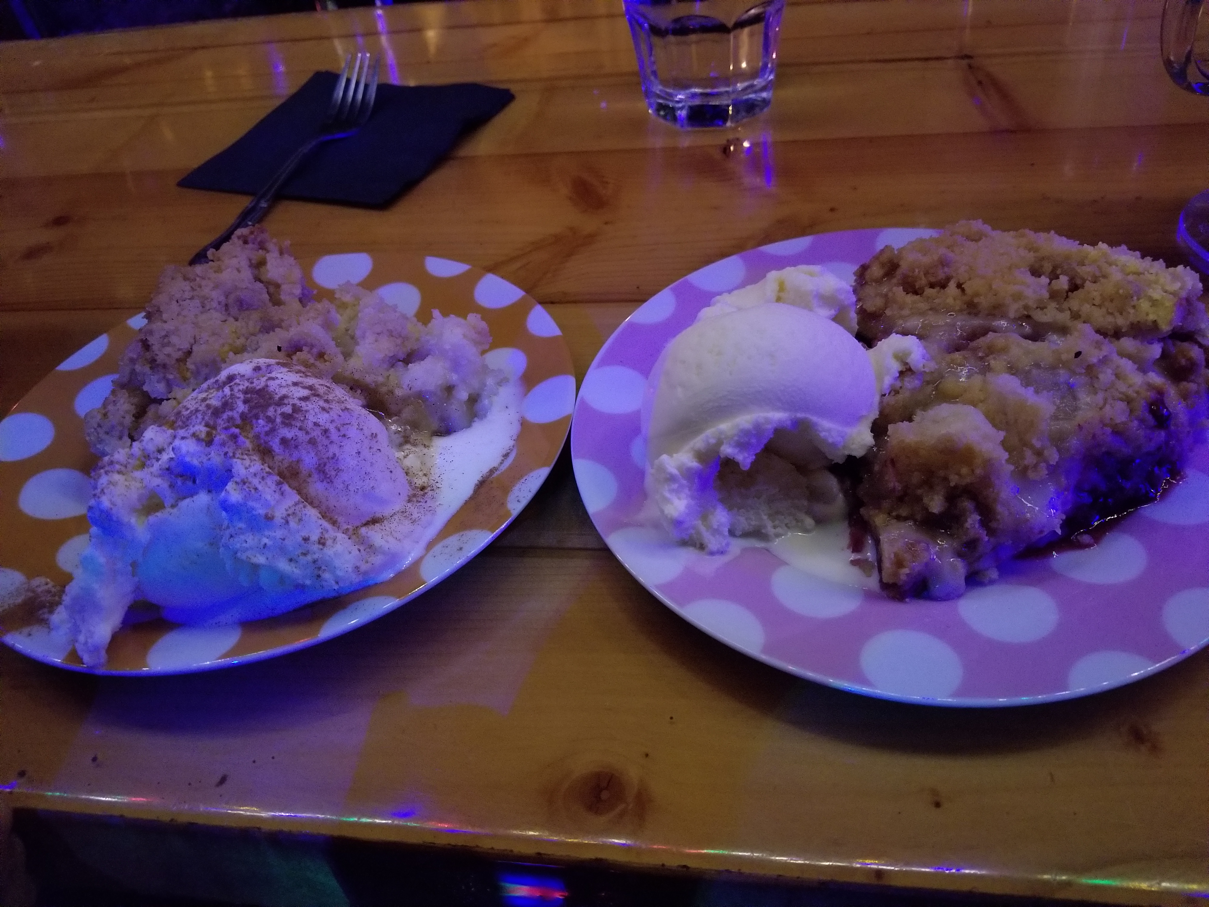 Apple Crumble and Desserted Island pies with a huge helping of vanilla ice cream on the side!