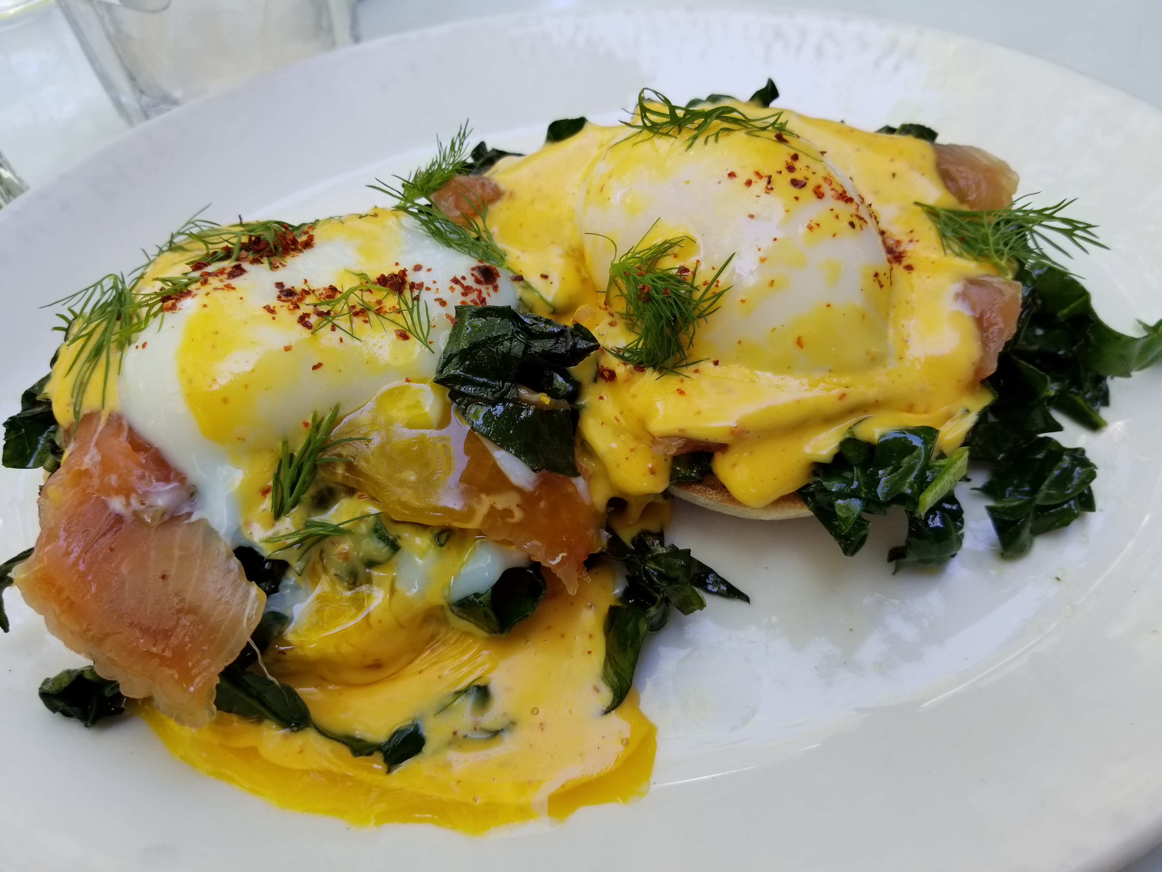 Salmon with Poached Eggs and Hollandaise (aka. Eggs Benedict)