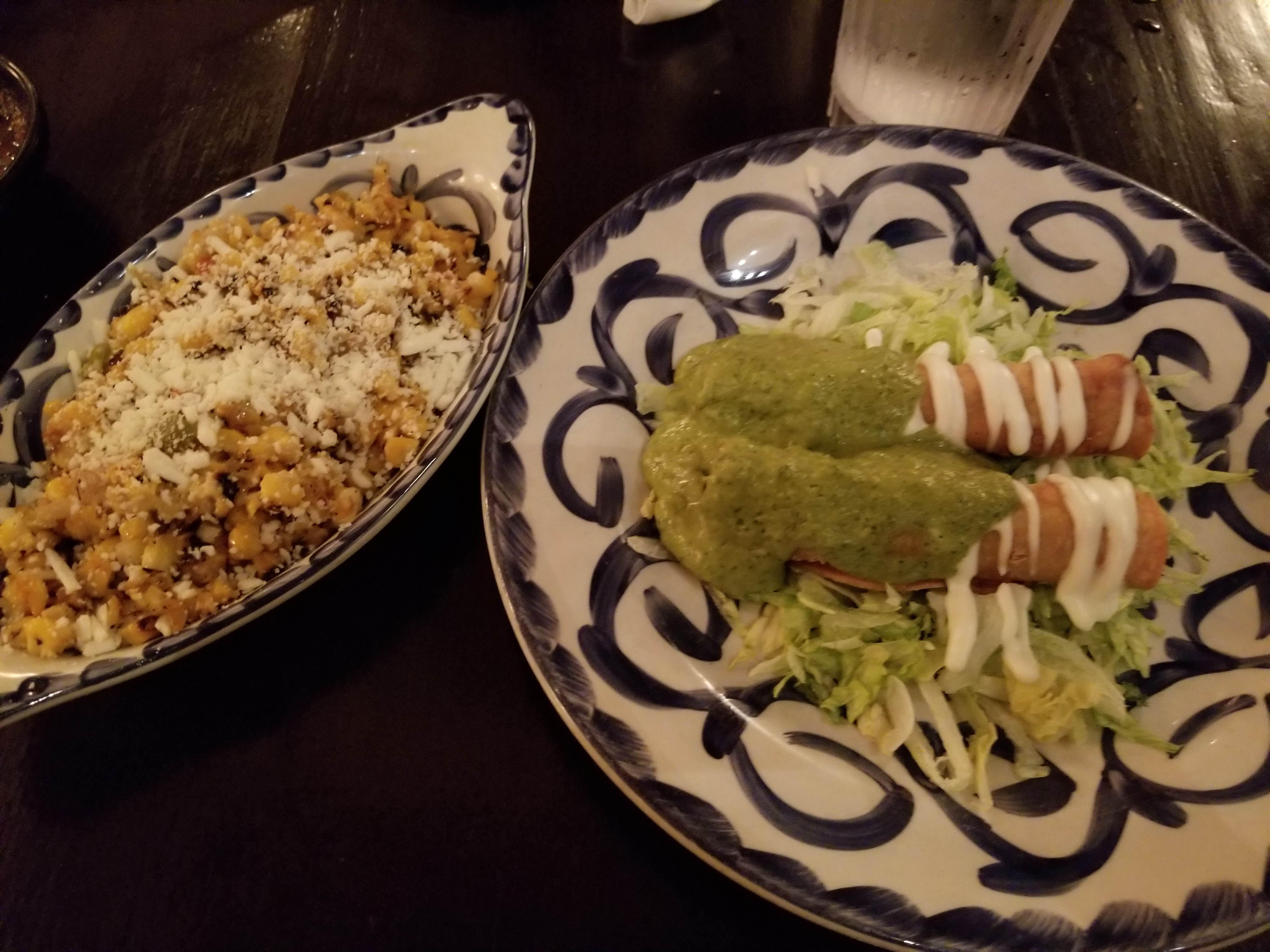 Esquites (left) and Chicken Taquitos  (right)
