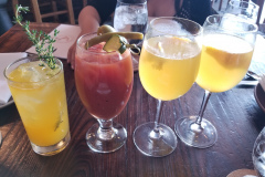 From L to R: Sat-Sue-Me, Bloody Mary, two Mimosas