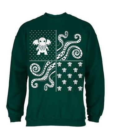cthulhu lovecraft dimensions ugly christmas sweater black crew neck sweatshirt